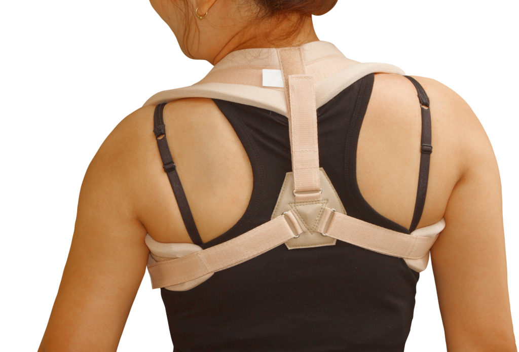 clavicle brace ,clavicle support for fracture clavicle ,woman wearing clavicle brace for release pain and immobilize shoulder