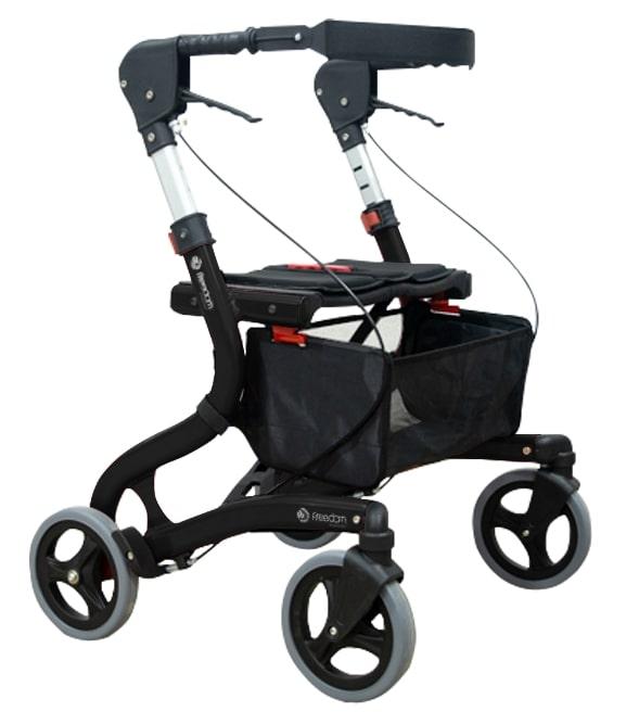 Imagem com fundo branco e ao centro andador de quatro rodas para idoso