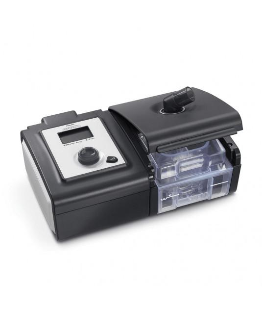 Fundo branco e ao centro aparelho CPAP System One Pressão da Philips, com Umidificador