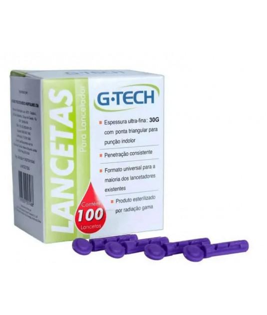 Caixa de lanceta G-Tech 30g com 100 unidades