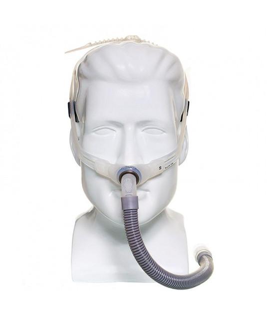 Fundo branco e ao centro Máscara CPAP Nasal Pillow Soft